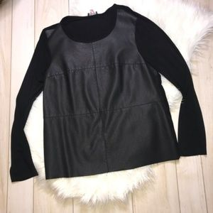 Vince Camuto Black Faux Leather Front Blouse